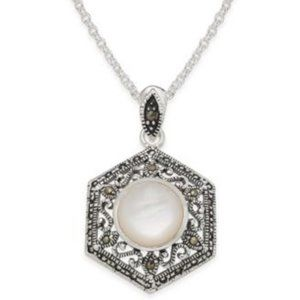 Macy's Silver Swarovski/ Mother of Pearl Necklace